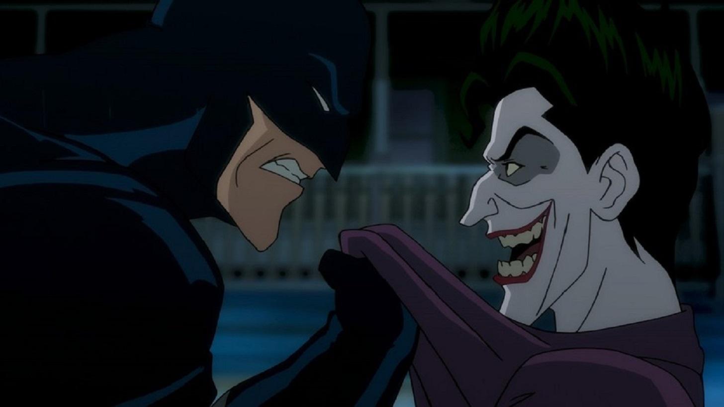 Showdown between Batman and The Joker in Batman The Killing Joke (2016)