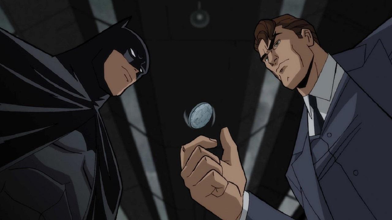 Batman (voiced by Jensen Ackles) and Harvey Dent (voiced by Josh Duhamel) in Batman: The Long Halloween Part One (2021)