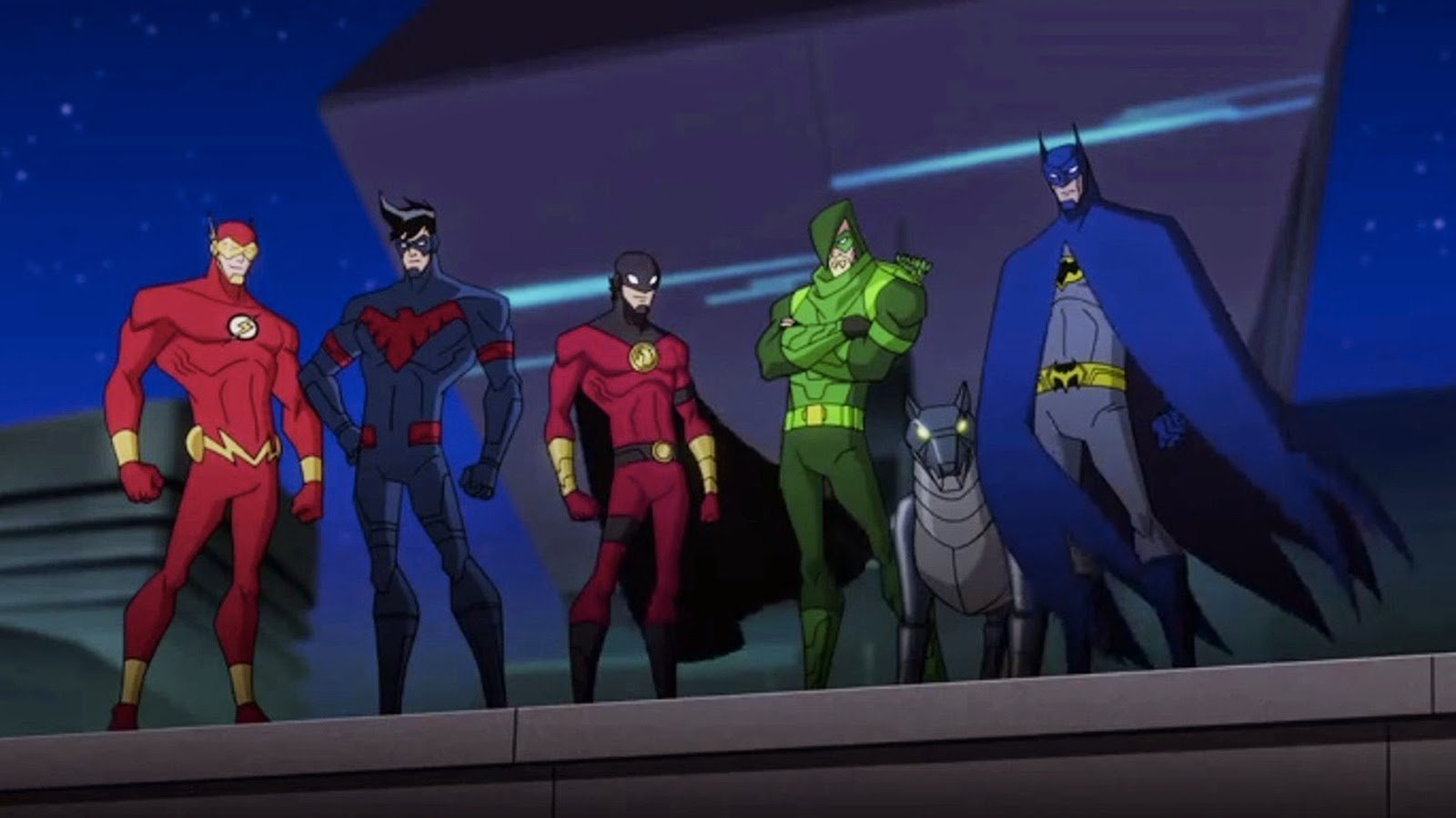(l to r) The Flash, Nightwing, Red Robin, Green Arrow and Batman in Batman Unlimited: Animal Instincts (2015)