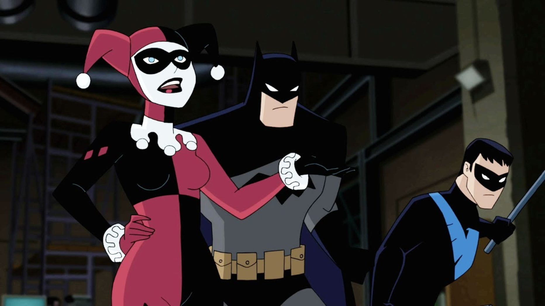 Harley Quinn, Batman and Nightwing in Batman and Harley Quinn (2017)