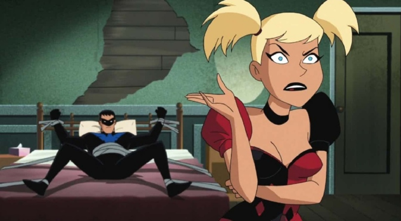 Harley Quinn and Nightwing in a bedroom tryst in Batman and Harley Quinn (2017)