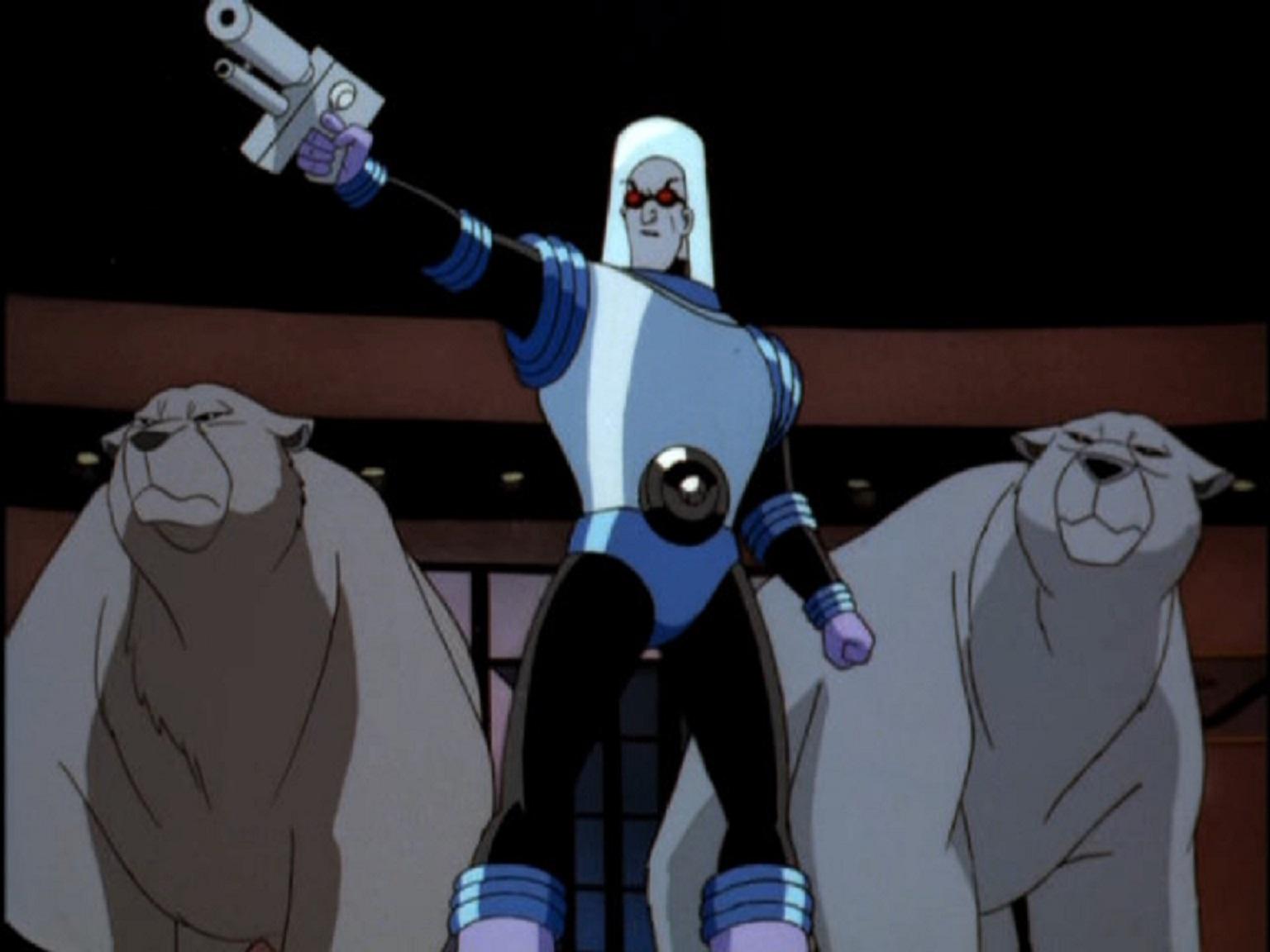 Mr Freeze accompanied by polar bears in Batman and Mr Freeze SubZero (1998)