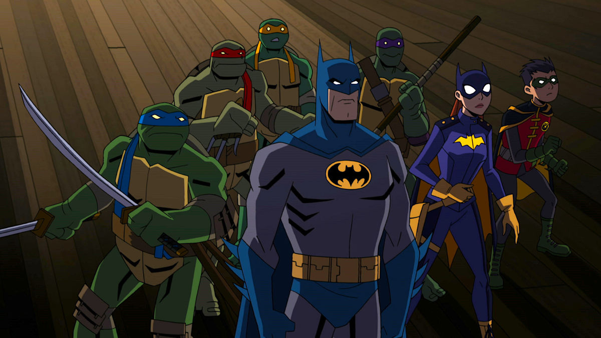 The Teenage Mutant Ninja Turtles - (l to r) Leonardo, Raphael, Michelangelo and Donatello; front row - (l to r) Batman, Batgirl and Robin in Batman vs Teenage Mutant Ninja Turtles (2019)