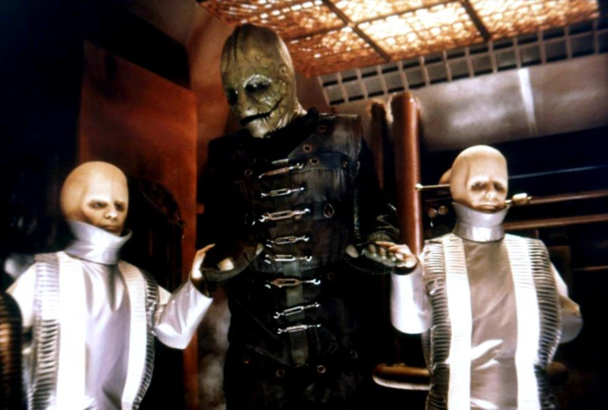 Cayman flanked by two of the Nestor clones in Battle Beyond the Stars (1980)