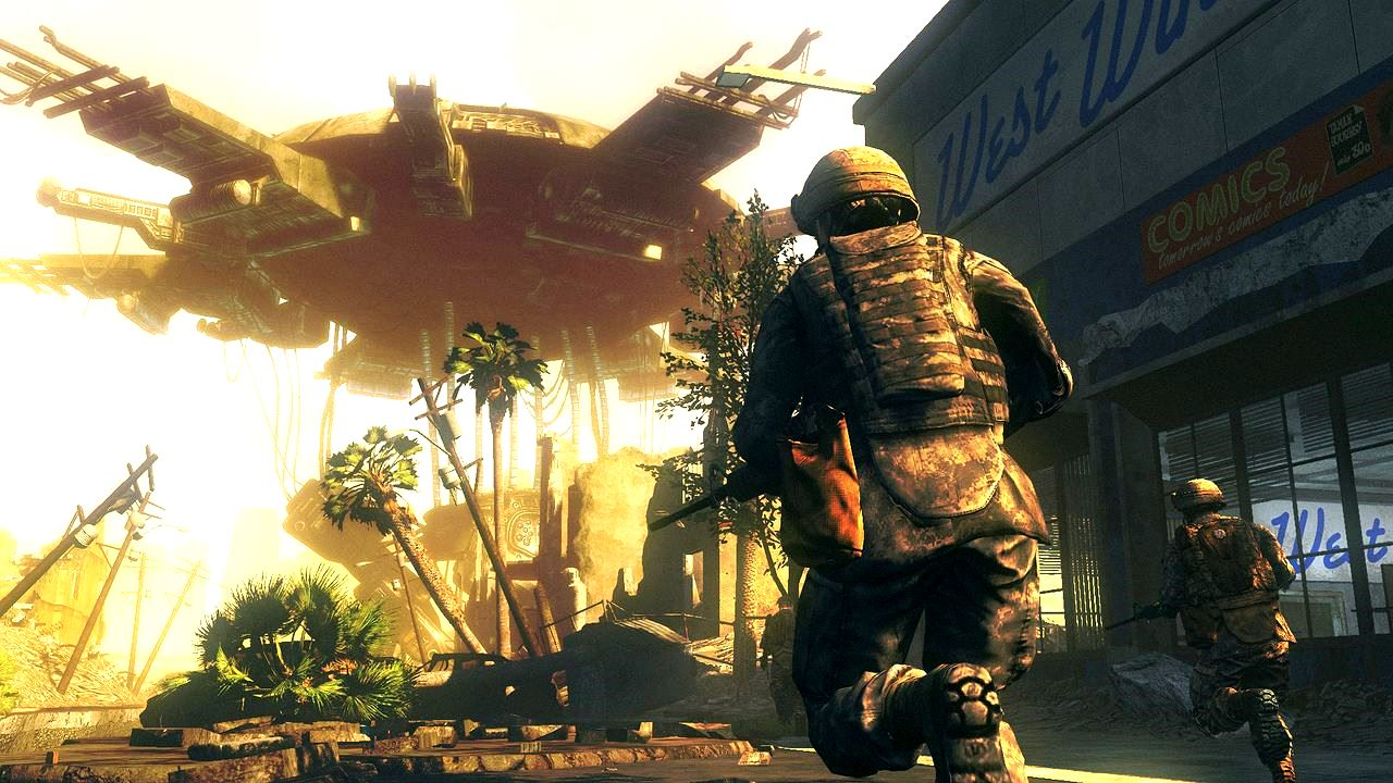 Soldiers cross the battle zone beneath an alien ship in Battle Los Angeles (2011)