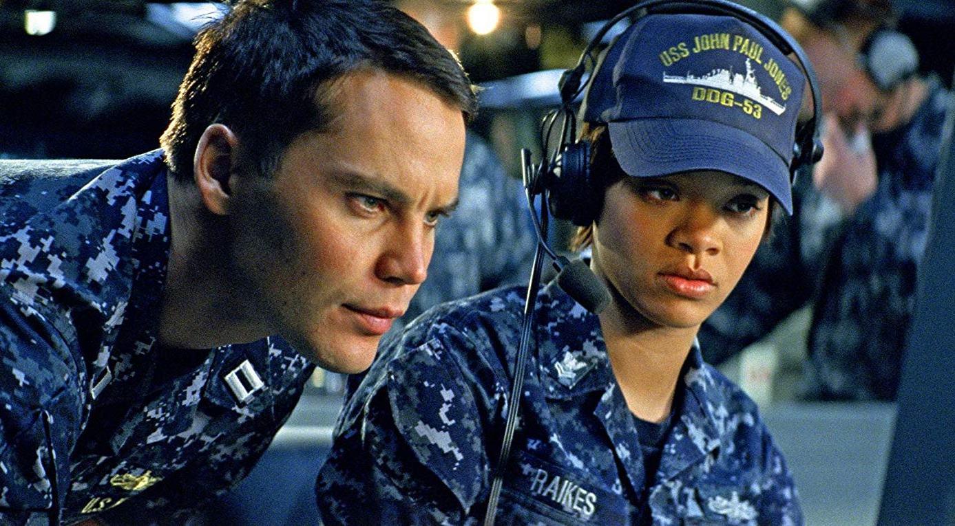 Taylor Kitsch and Rihanna in Battleship (2012)
