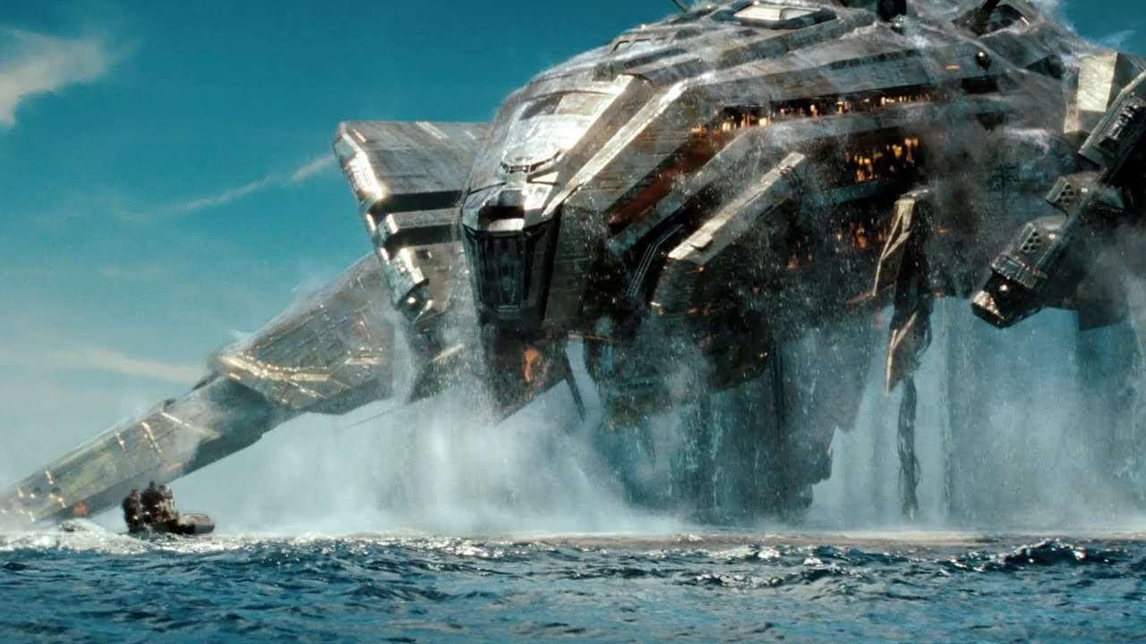 Alien ship rising out of the water in Battleship (2012)