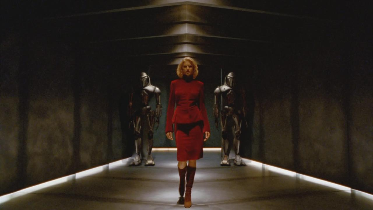 Tricia Helfer in the opening scene from Battlestar Galactica (2003)