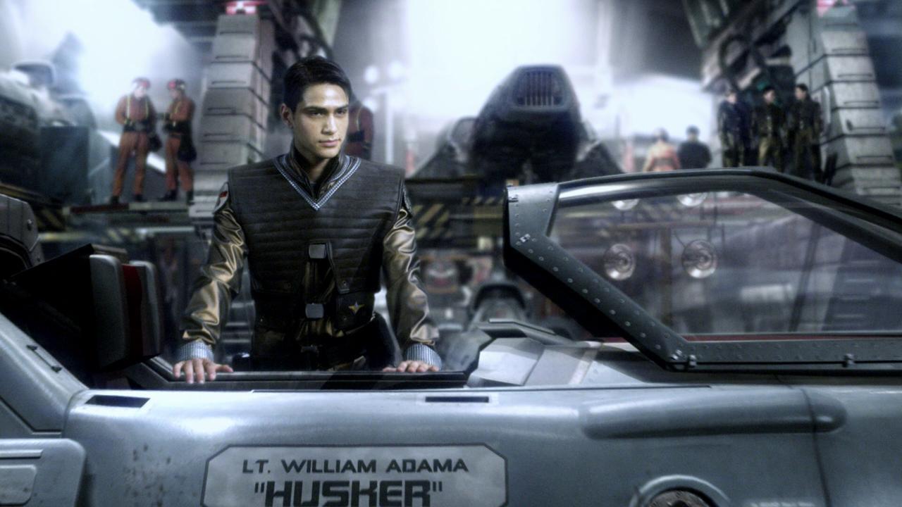 Luke Pasqualino as the young William Adama in Battlestar Galactica: Blood & Chrome (2012)