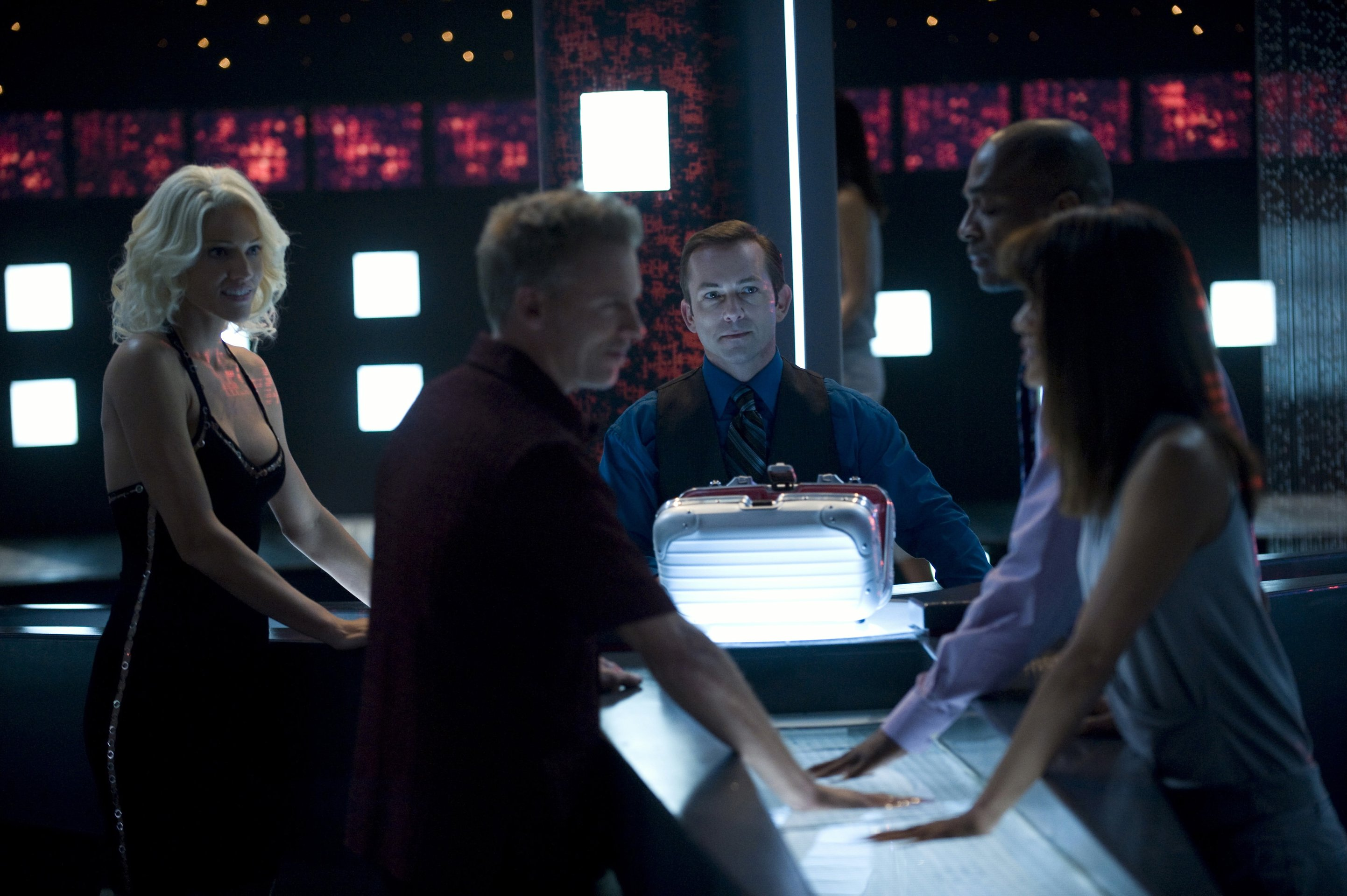 The Cylons - (l to r) No 6 (Tricia Helfer), No 2 (Callum Keith Rennie), No 5 (Matthew Bennett), No 4 (Rick Worthy) and Sharon Valerii (Grace Park) in Battlestar Galactica: The Plan (2009)
