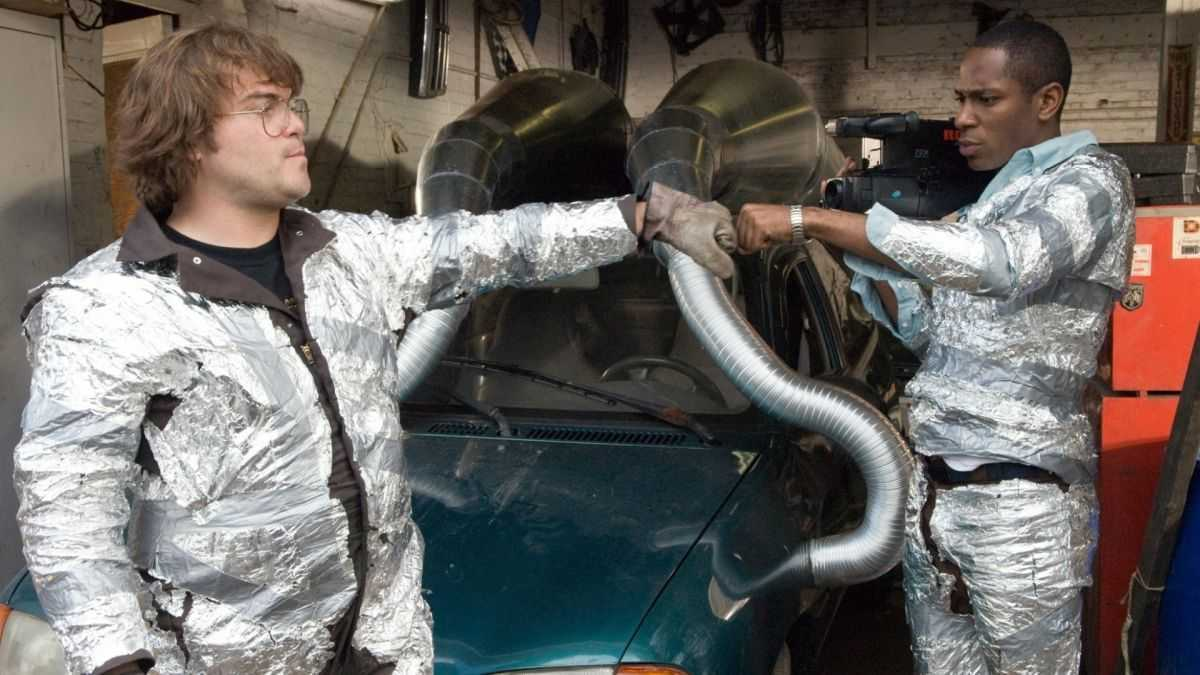 Jack Black and Mos Def re-enact their sweded version of Ghostbusters in Be Kind Rewind (2008)