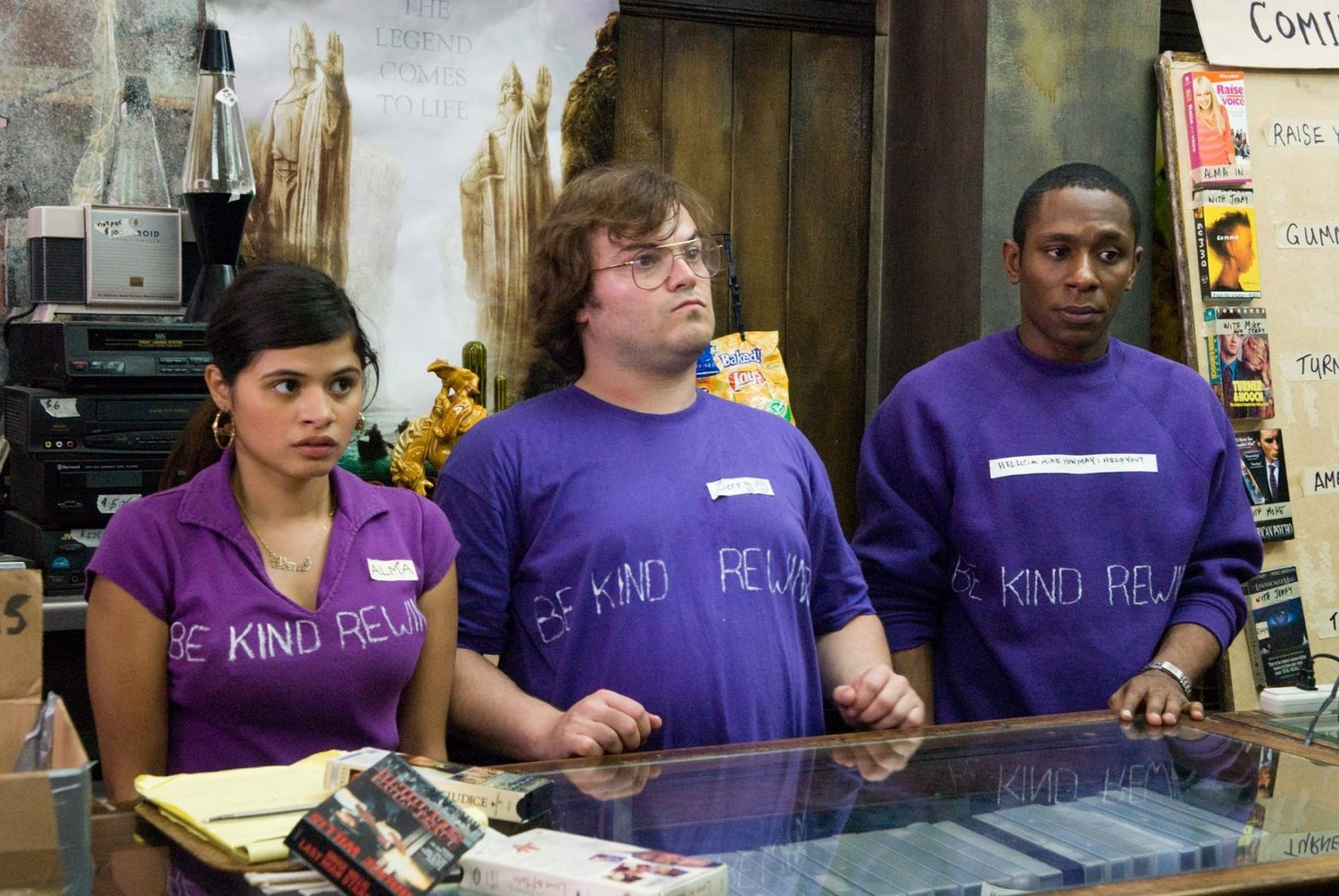 Videostore employees - (l to r) Melonie Diaz, Jack Black and Mos Def in Be Kind Rewind (2008)