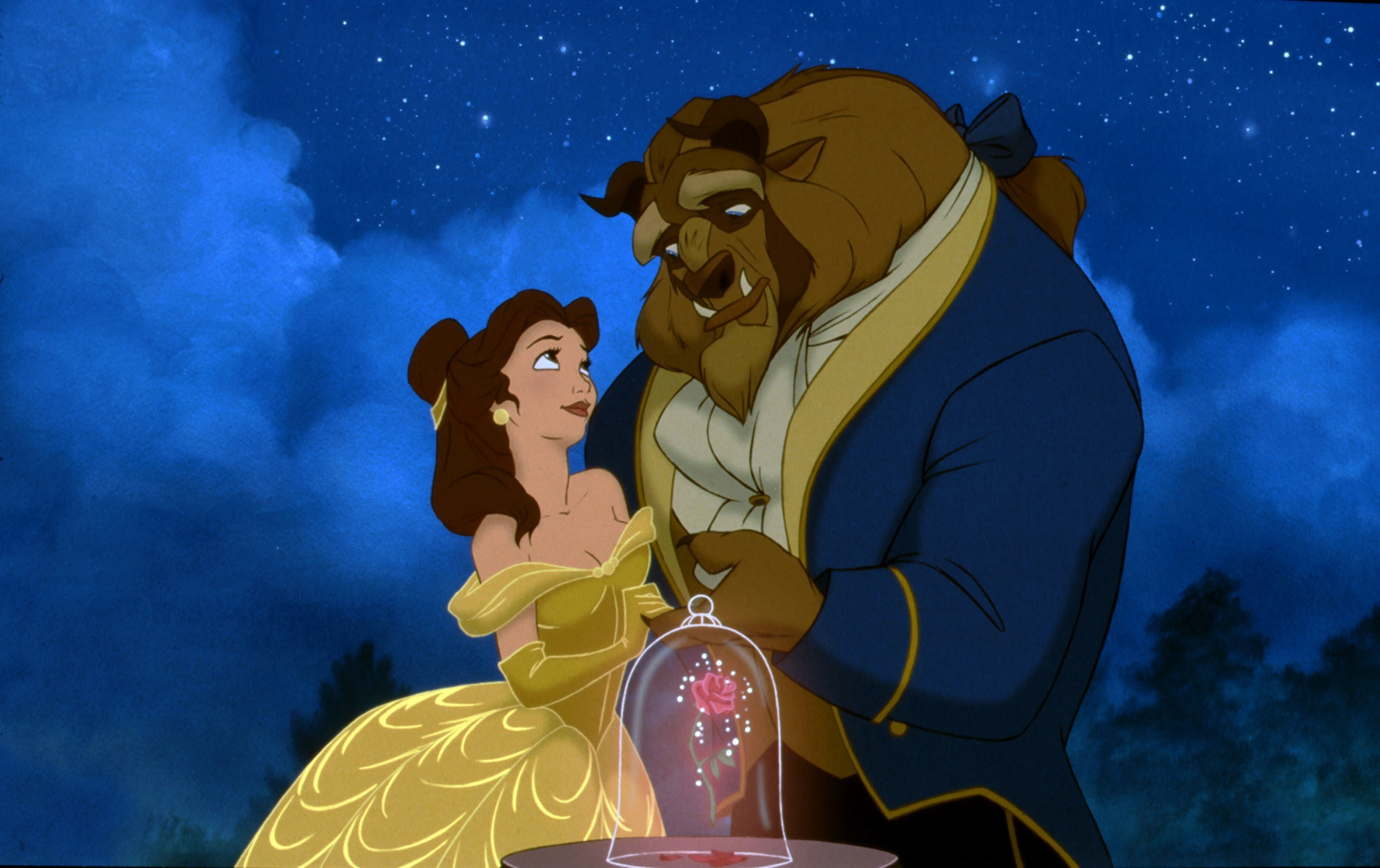 Belle (voiced by Paige O'Hara) and the Beast (voiced by Robby Benson) in Beauty and the Beast (1991)