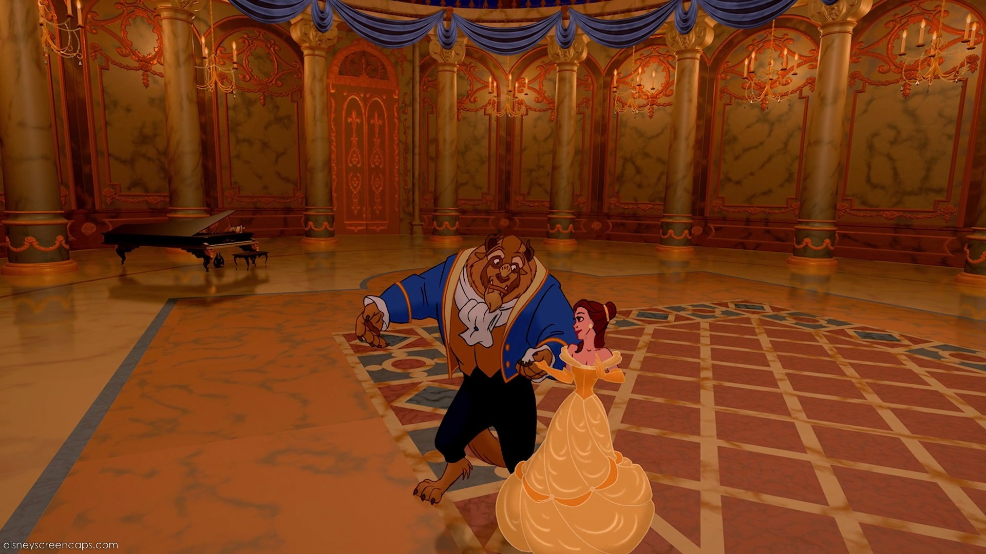 Belle and the Beast dance in Beauty and the Beast (1991)