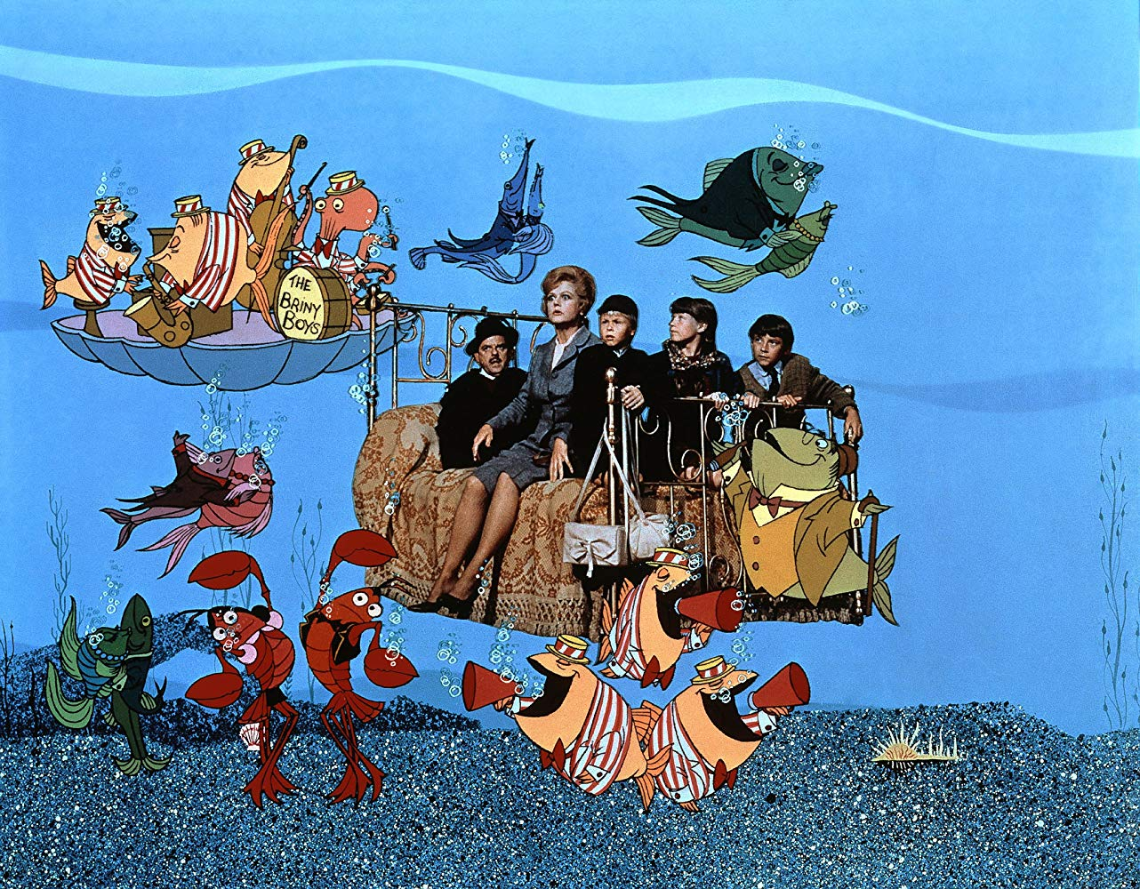 The arrival at the island of Naboombo aboard the flying bed in Bedknobs and Broomsticks (1971)