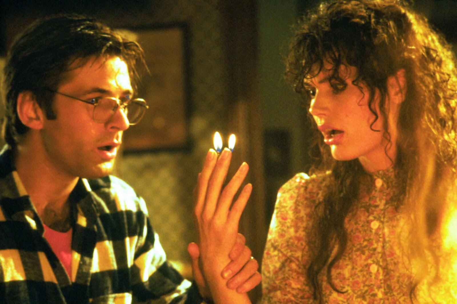 Husband and wife Adam and Barbara Maitland (Adam Baldwin and Geena Davis) who find themselves in the afterlife in Beetlejuice (1988)
