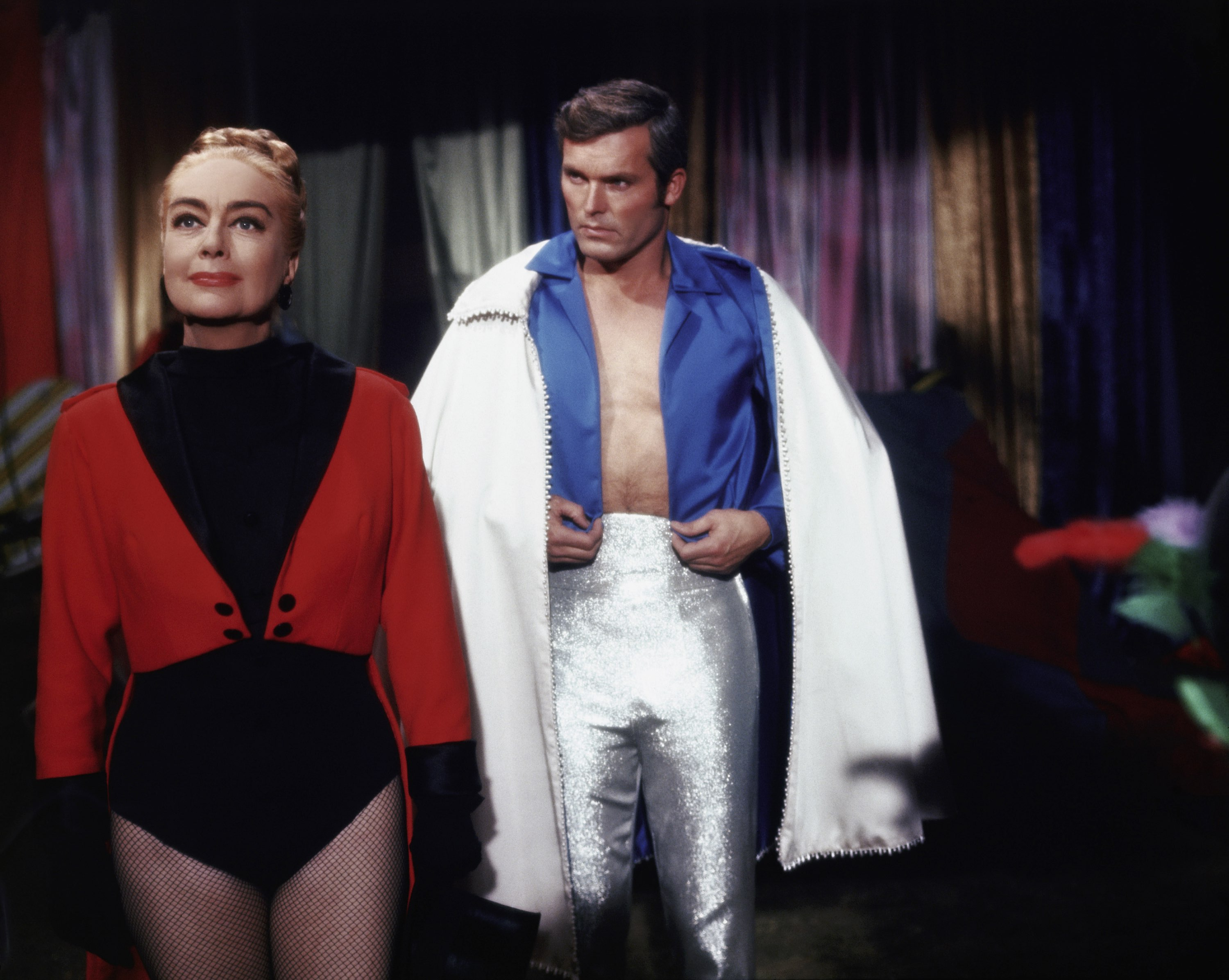 Circus owner Joan Crawford and her trapeze artist lover Ty Hardin in Berserk (1967)