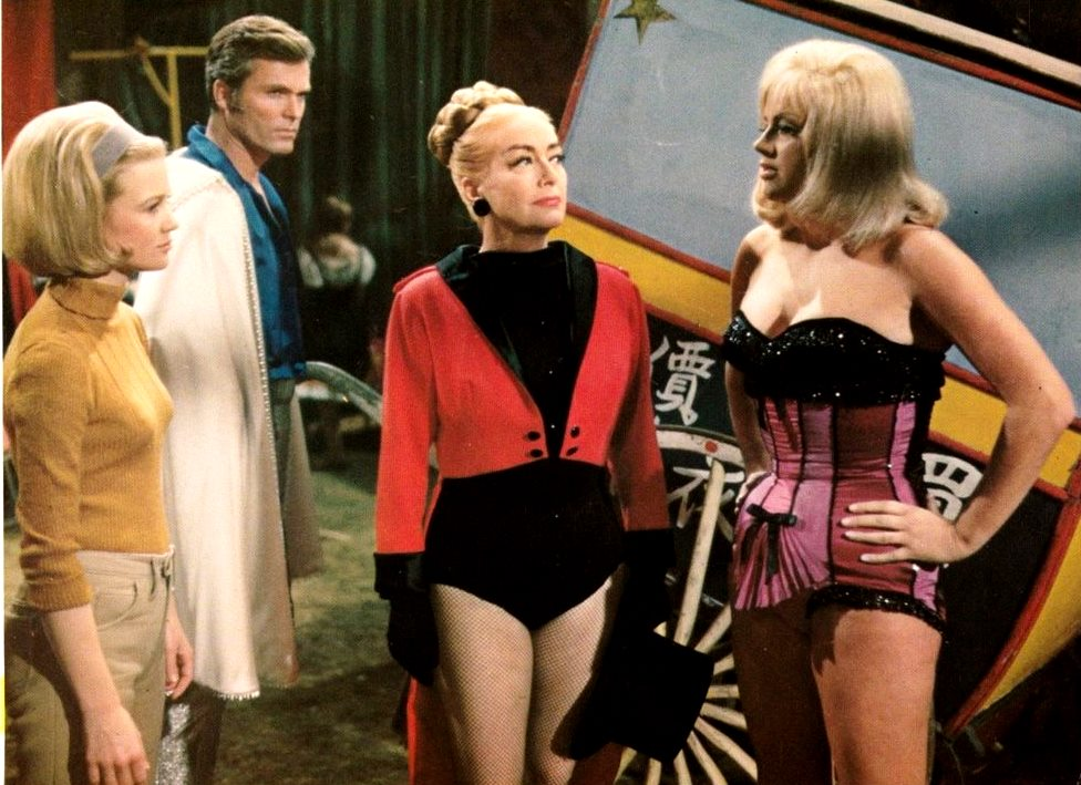 (l to r) Judy Geeson, Ty Hardin, Joan Crawford and Diana Dors in Berserk (1967)