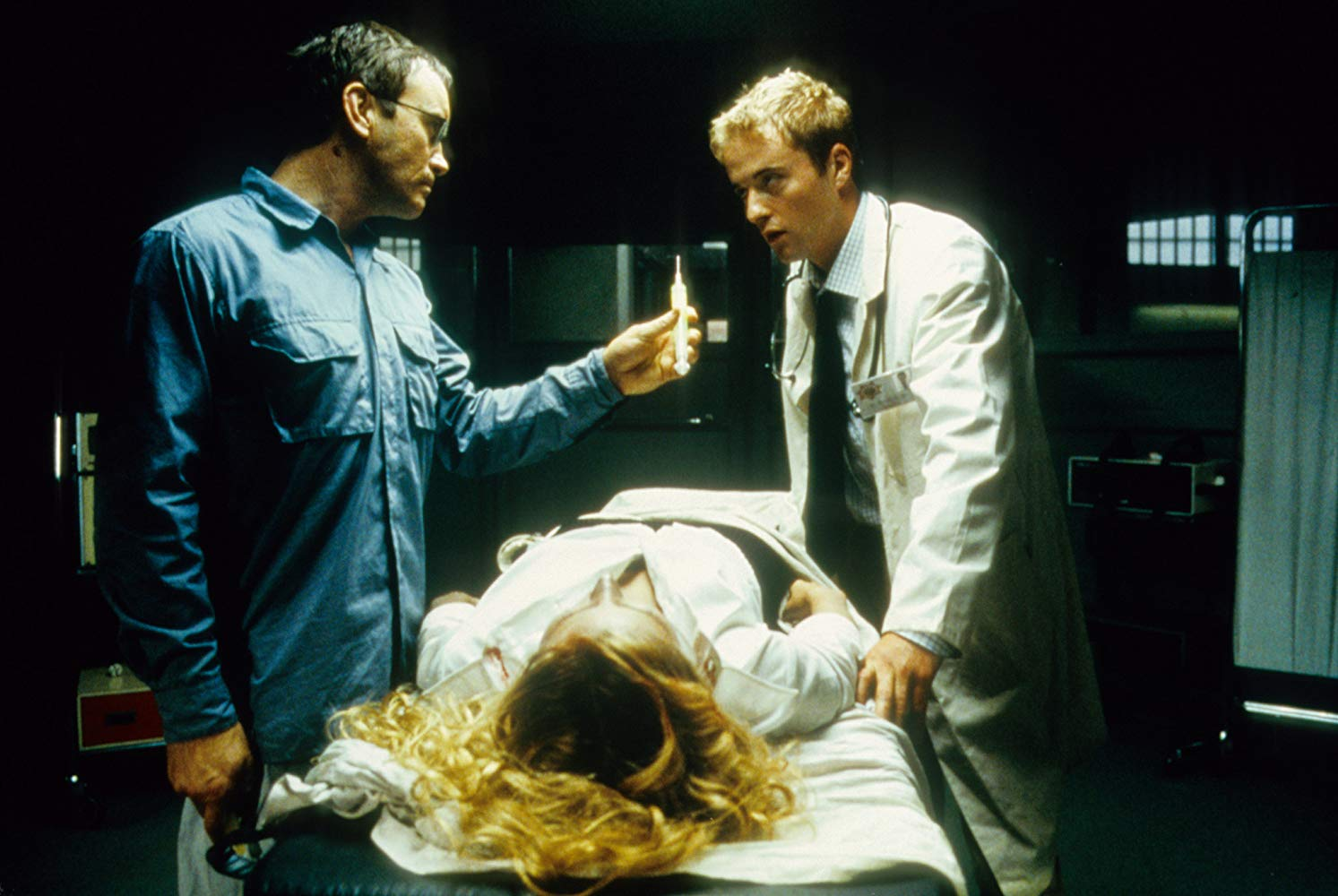 Jeffrey Combs and Jason Barry in Beyond Re-Animator (2003)