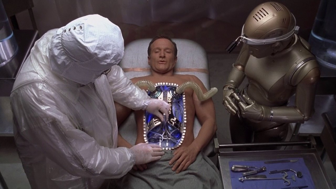 Andrew (Robin Williams) has his mechanical parts replaced in Bicentennial Man (1999)