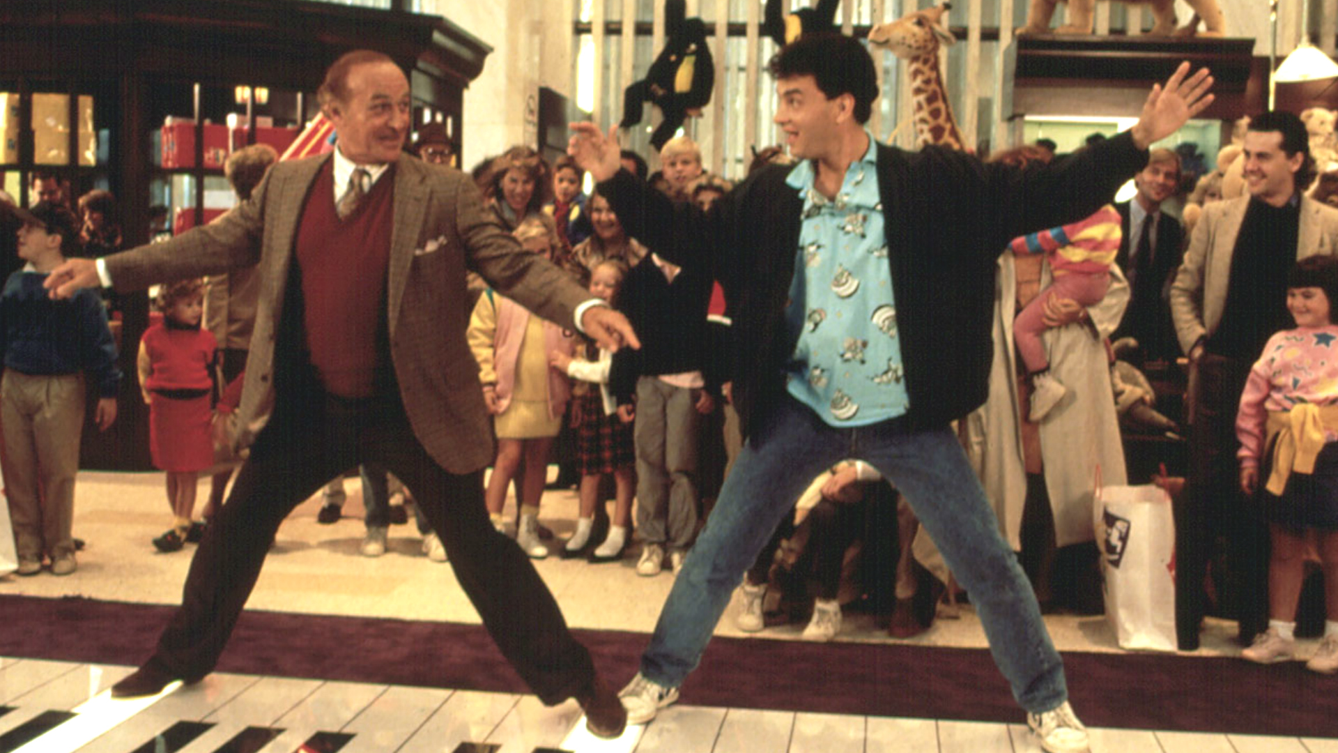 Robert Loggia and Tom Hanks go dancing on the giant keyboard in Big (1988)
