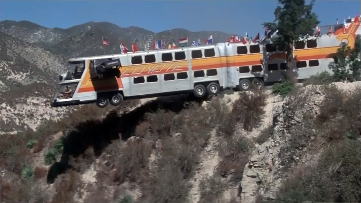 The Cyclops perched on the side of a cliff in The Big Bus (1976)