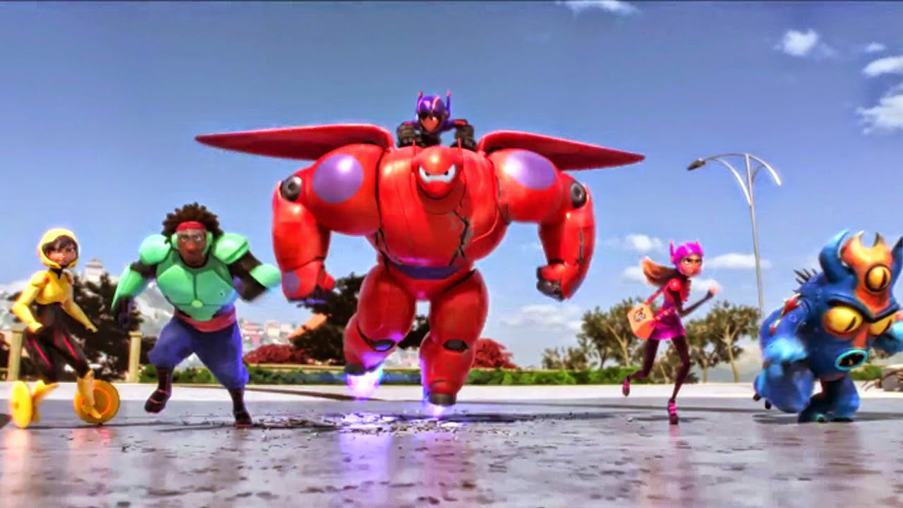 The Big Hero 6 line-up - (l to r) GoGo Tomago, Wasabi, Hiro aboard Baymax, Honey Lemon and Fred in Big Hero 6 (2014)