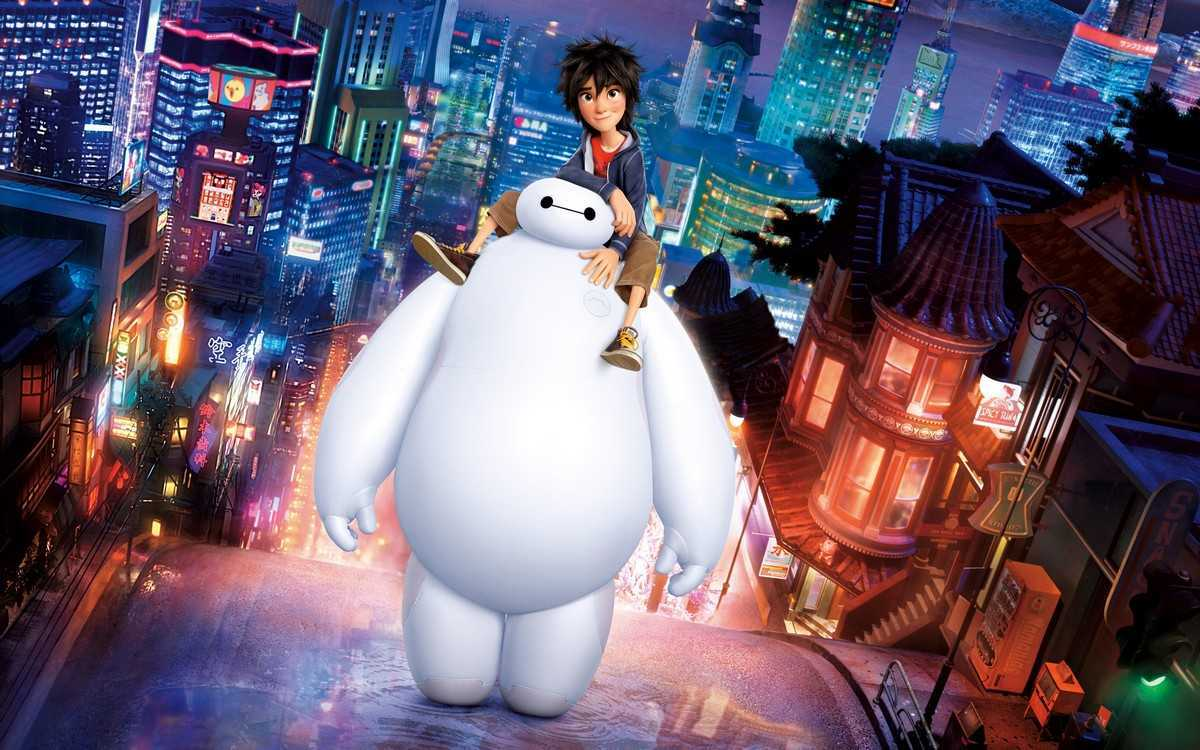 Hiro (voiced by Ryan Potter) and Baymax (voiced by Scott Adsit) against the background of San Fransokyo in Big Hero 6 (2014)