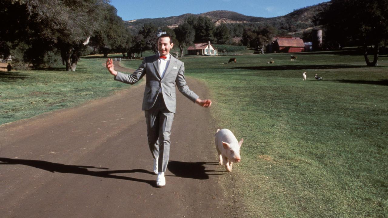 Pee-Wee Herman (Paul Reubens) on his farm in Big Top Pee-Wee (1988)