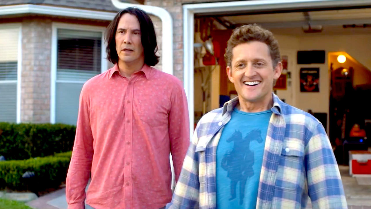 Ted Theodore Logan (Keanu Reeves) and Bill S. Preston Esq (Alex Winter) having reached middle-age in Bill & Ted Face the Music (2020)