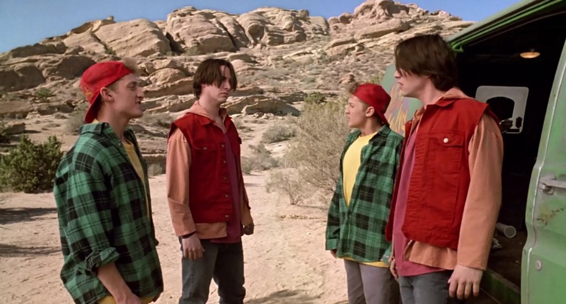 Bill (Alexander Winter) and Ted (Keanu Reeves) meet their android duplicates in Bill and Ted's Bogus Journey (1991)
