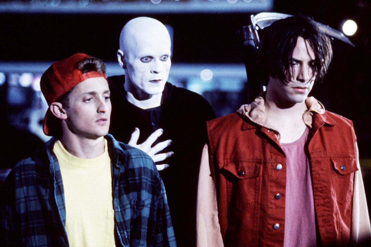 (l to r) Bill (Alexander Winter), The Grim Reaper (William Sadler) and Ted (Keanu Reeves) in Bill and Ted's Bogus Journey (1991)