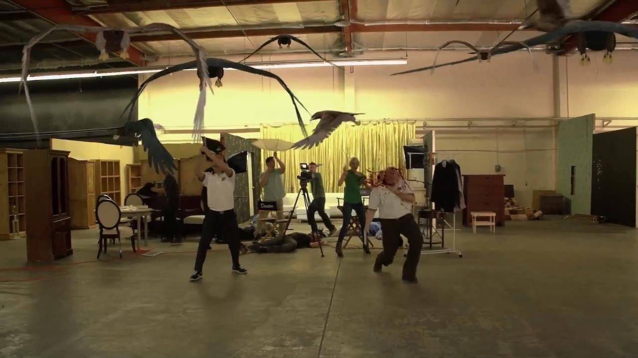 Bird attack on a film set in Birdemic 2: The Resurrection (2013)