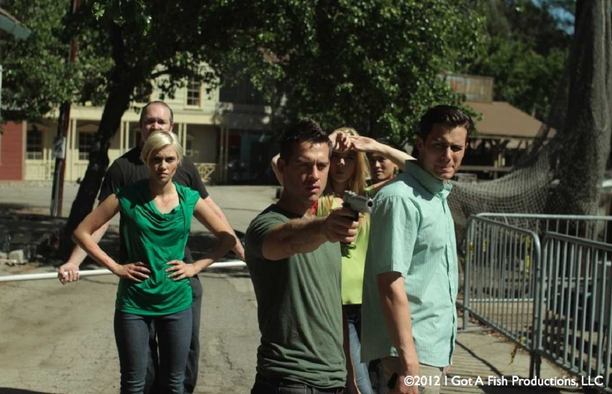 Facing the bird attacks - (l to r front) Whitney Moore, Thomas Favaloro and Alan Bagh in Birdemic 2: The Resurrection (2013)