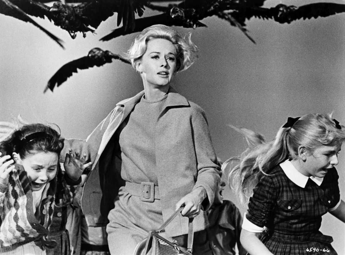 Tippi Hedren and children under attack in The Birds (1963)