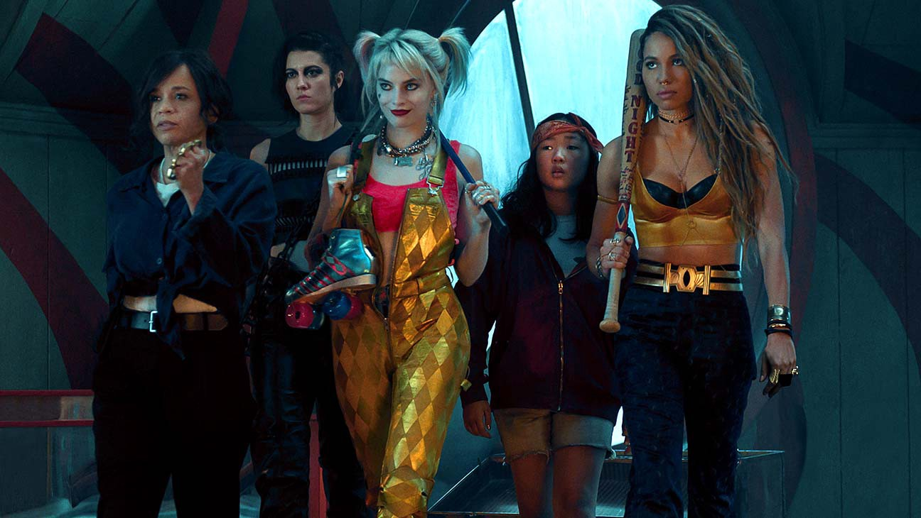 Renee Montoya (Rosie Perez), The Huntress/Helena Bertinelli (Mary Elizabeth Winstead), Harley Quinn (Margot Robbie), Cassandra Cain (Ella Jay Basco) and Dinah Lance/Black Canary (Jurnee Smollett-Bell) in Birds of Prey and the Fantabulous Emancipation of One Harley Quinn (2020)