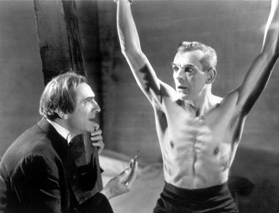 Bela Lugosi ties up and tortures Boris Karloff in The Black Cat (1934)