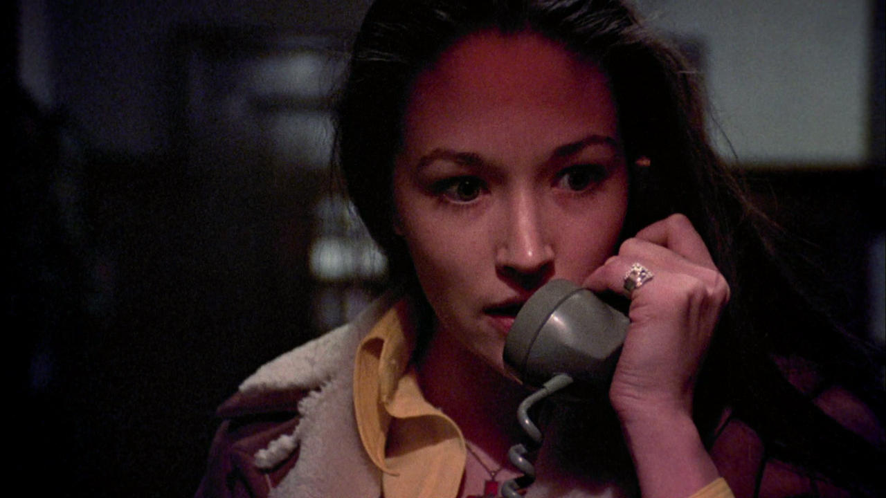 A fear-filled Olivia Hussey on the phone in Black Christmas (1974)