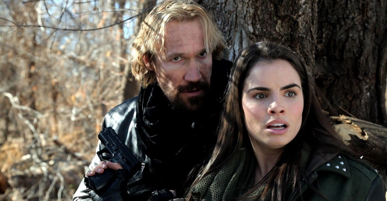 Josh McManus (David A.R. White) and Sofia (Hilty Bowen) in The Black Rider: Revelation Road (2014)