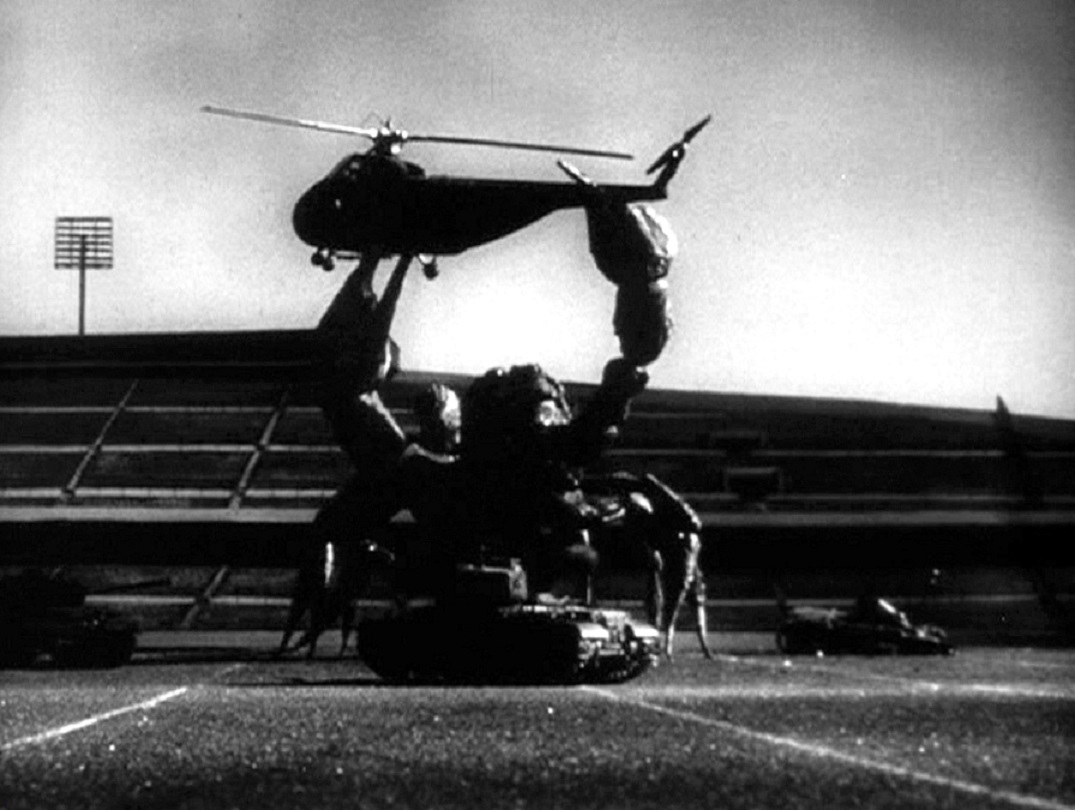 Giant scorpion vs tanks and helicopter in The Black Scorpion (1957)