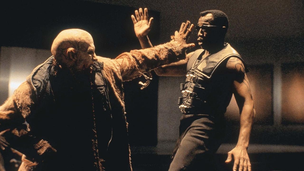 Wesley Snipes in action against the vampires in Blade II (2002)