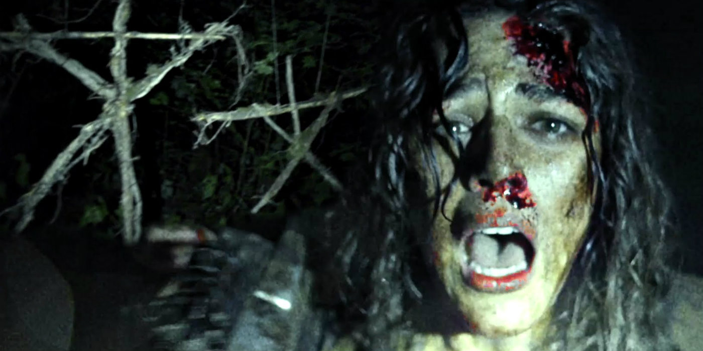 A terrified Callie Hernandez in Blair Witch (2016)