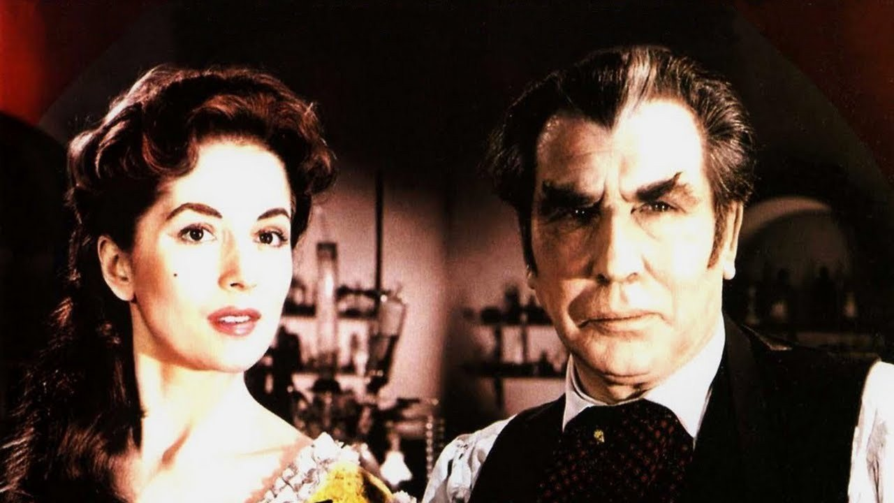 Barbara Shelley and Donald Wolfit as Dr Callistratus in Blood of the Vampire (1958)