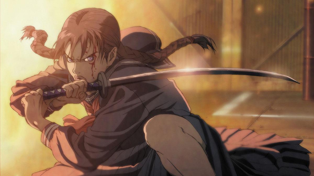 The demon-hunting vampire schoolgirl Saya in Blood: The Last Vampire (2000)