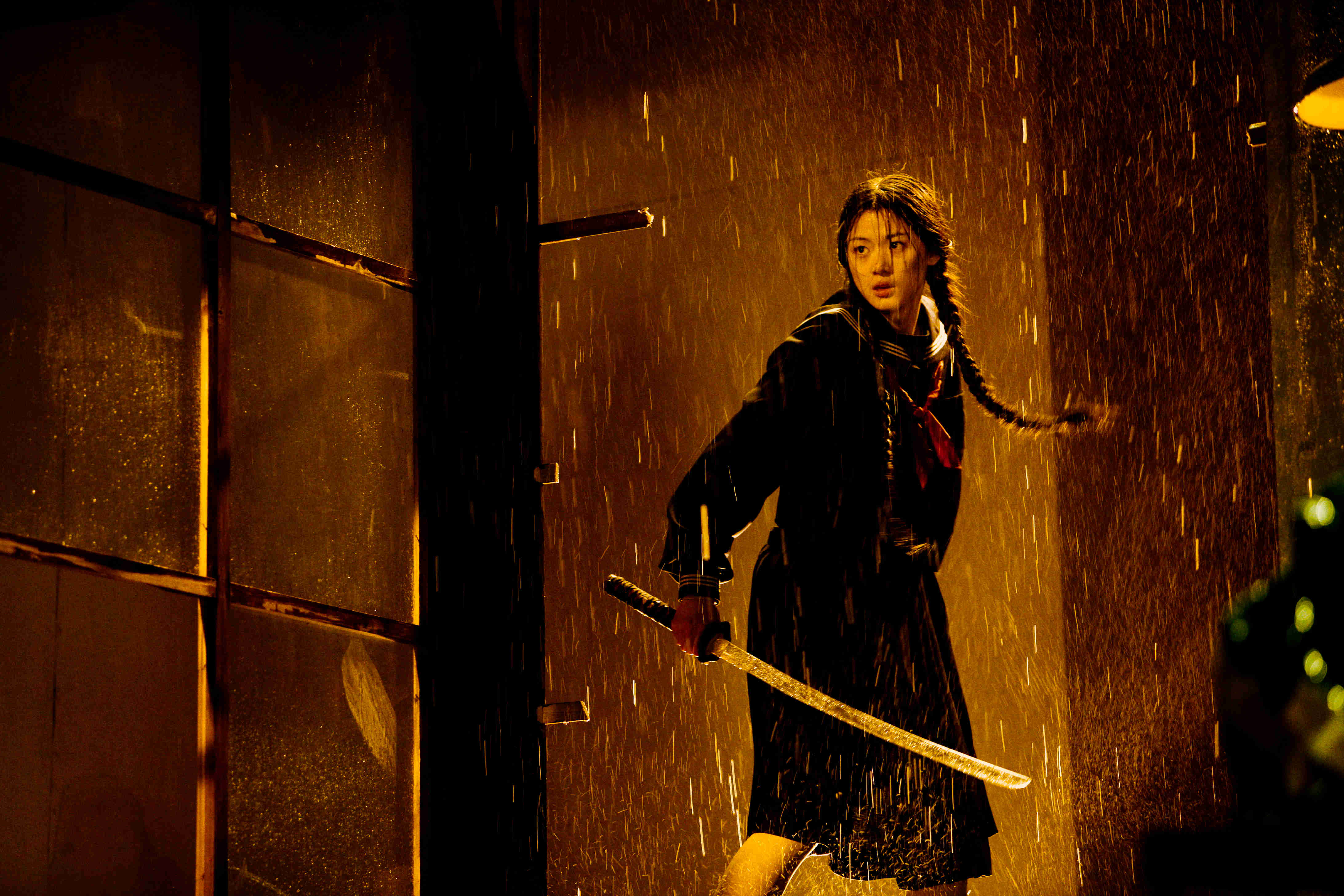Gianna as the sword-wielding vampire schoolgirl Saya in Blood: The Last Vampire (2009)