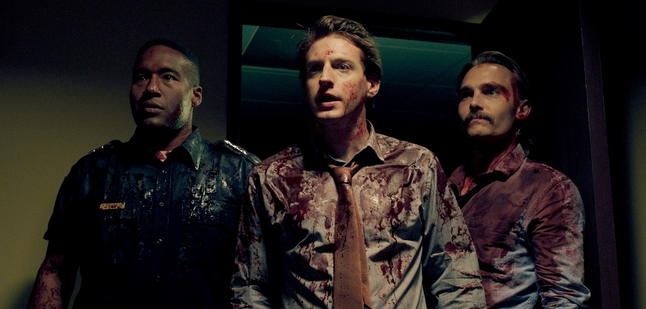 Marshall Givens, Fran Kranz and Joey Kerns take on the vampires in Bloodsucking Bastards (2016)