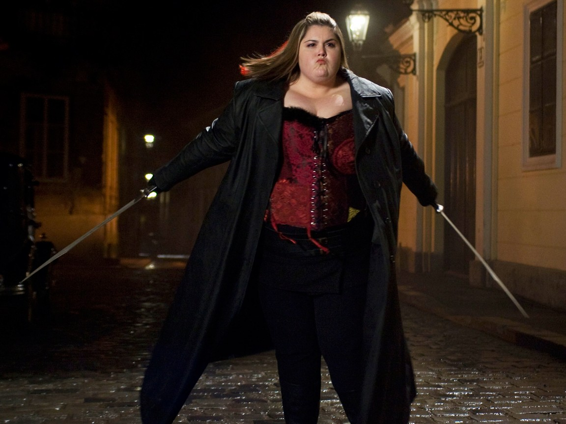 Lindsay Hollister hunting vampires as Blubberella (2011)