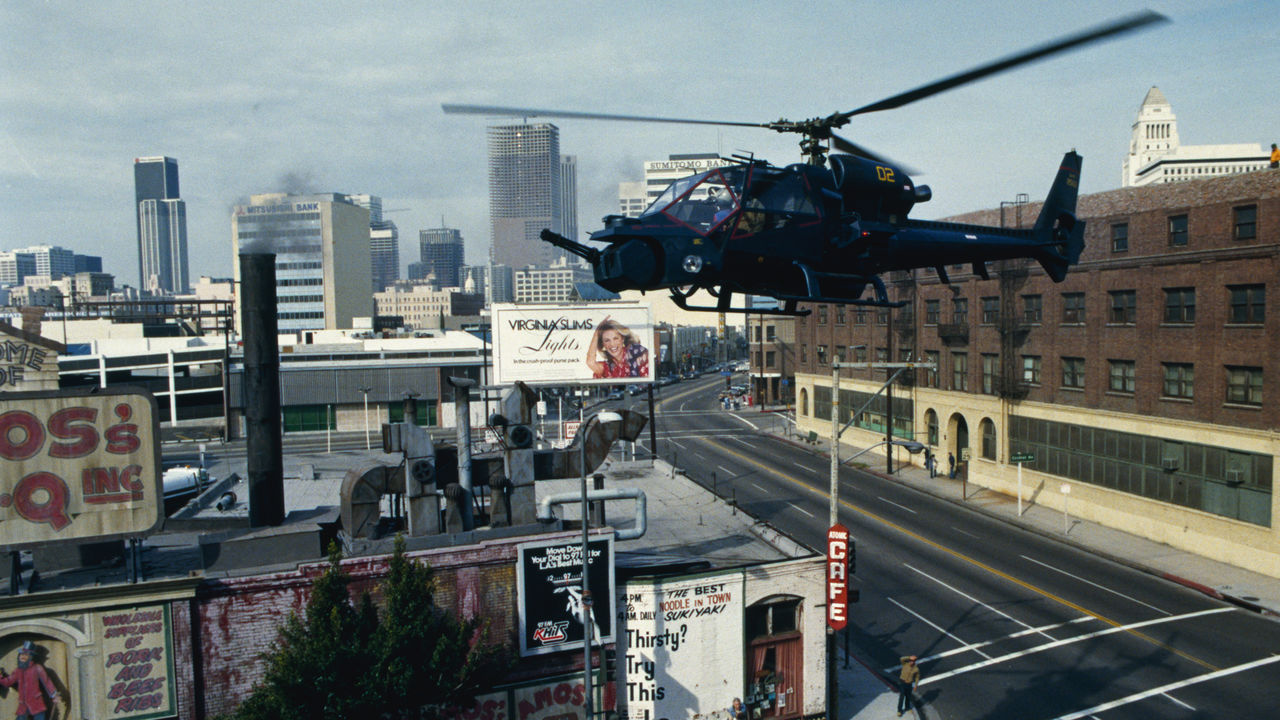 The Blue Thunder in action in the skies of Los Angeles in Blue Thunder (1983)