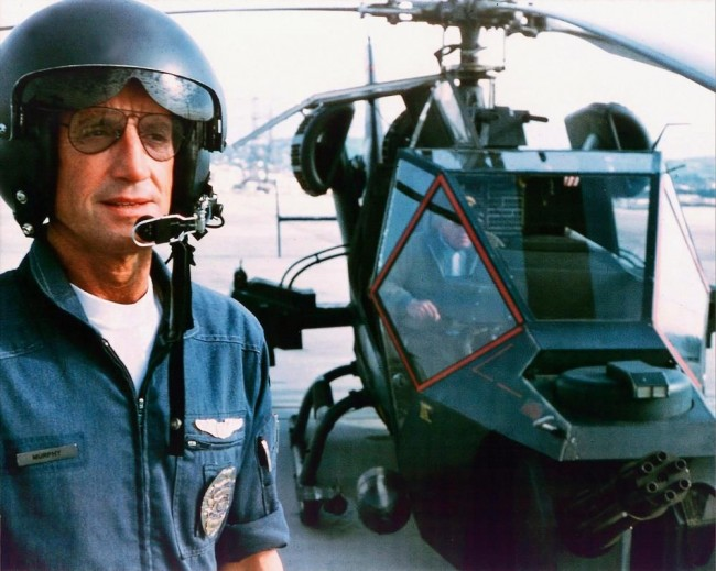 Frank Murphy (Roy Scheider) and the Blue Thunder helicopter in Blue Thunder (1983)