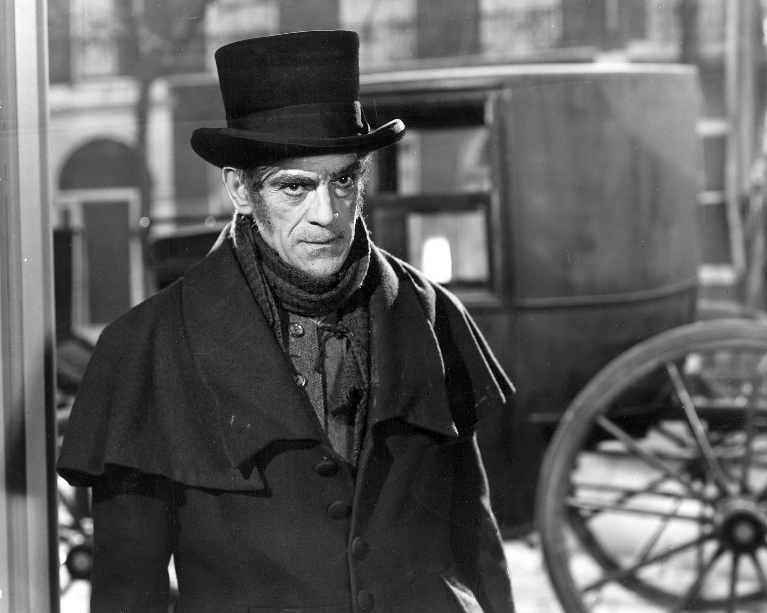 Boris Karloff as cabman John Gray in The Body Snatcher (1945)